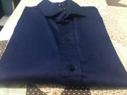 Camisa Azul Marinho Manga Longa 50% OFF