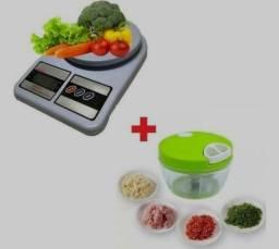 Triturador de alimentos + balança digital até 10 kilos para cozinha
