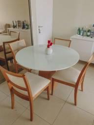 Conjunto Mesa Punto 120 Vidro Com 4 cadeiras Garbo em 12x