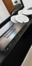 Kit Amplificador com 10 caixas de som arandela embutida