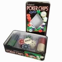 Jogo De Poker Professional 100pcs Lata Luxo Baralho Dominó