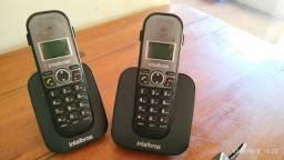 Telefone S/ Fio Ts 5122 Intelbras com Ramal Adicional + 2 Fone Headset P1 Semi Novo