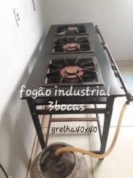 Fogão industrial 3 bocas grelha 40x40