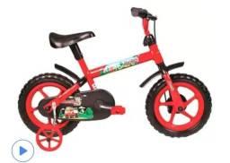 Bicicleta Infantil Aro 12 Verden Jack - Vermelha e Preta com Rodinhas Preto,Vermelho<br><br>