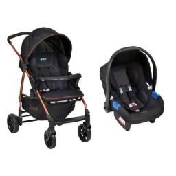 Carrinho e bebê conforto Burigotto - Travel System Ecco-Preto Cobre<br><br>