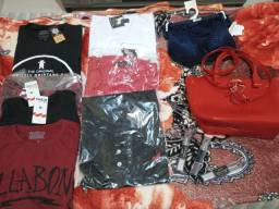 7 Camisa masculina tamanho G , bolsa da melissa , lingerie, batons na cor vermelha e vinho