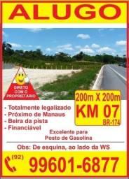 Alugo Terreno de esqueina 200 x 200 na pista area urbana da cidade