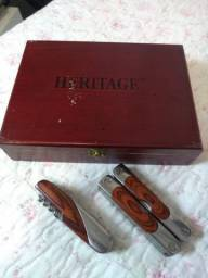 Coleção 2 canivetes Heritage Tools com 20 funções e caixa