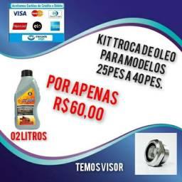 Kit troca de óleo para compressores 25 a 40 pés.