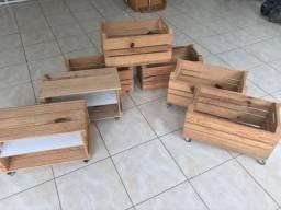 Caixote de pinus - Decoração