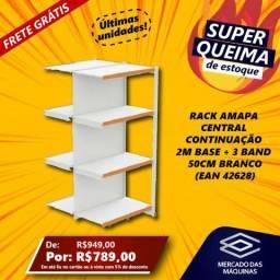 Rack Amapa Central Continuacao 2m Base + 3 Bandejas 50cm Branco NOVO