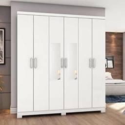 Lindo Demais Guarda Roupa 6 Portas (Todo Branco) Com Espelhos 899,00(Entrego e Monto)