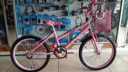 Bicicleta aro 20 Feminina c/ Adesivo da Barbie