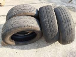 Pneus aro 195/60/15 quatro pneus meia vida