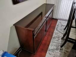 Balcão aparador em madeira 44cm x 1,86m x 82cm