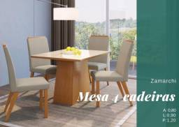 Título do anúncio: Mesa de Jantar 4 cadeiras acolchoada Zamarchi 90x90cm-Vidro Creme