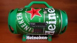 Caixa de som Barril Heineken 240W rms, Bluetooth, USB, Saída Subwoofer, Bateria 22h