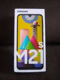 Samsung Galax M21s 64GB Azul e 4GB RAM Câm. Tripla self 32MP novo lacrado aceito cartão