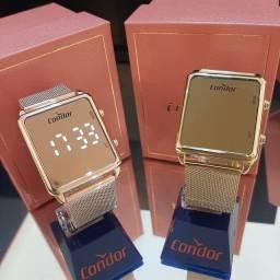 Título do anúncio: Relógio Condor Digital Quadrado Rosê/Dourado Led Branco Original Grande Barato