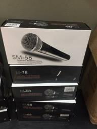 Microfone Profissional Com Cabo Sm-58 - Premium