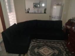 Sofa Preto de Canto Pano Veludinho