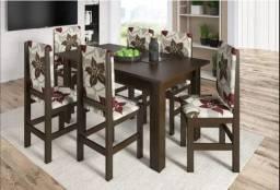 Mesa de Jantar MDF ( Conjunto Zamarchi ) 6 Cadeiras Estofadas - Entregamos