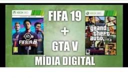 Jogos para xbox 360 (Gta-V & Fifa 19) midia digital