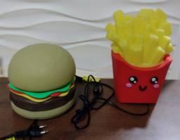 Luminária abajur de batata frita e hambúrguer lanche