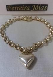 Título do anúncio: Pulseira feminina elo português com pingente coração em ouro 18k