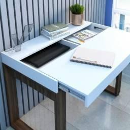 Escrivaninha Artany modelo Squadra cor branco e nogal