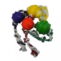 (WhatsApp) brinquedo bola p/ cachorro 50mm com corda 3 nós - maciça - verde