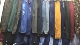 Calça jeans, brim e joguer 10 calças por 350,00