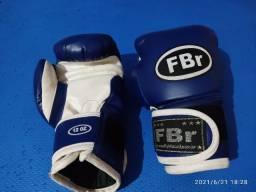 Luva Box FBr Branca/ Azul 12oz