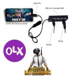 Kit Gamer Para Jogar no Celular e Tablet Hub USB + Cabo OTG