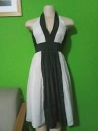 Vestido Zara em Crepe Seda Preto e Bege - M/40