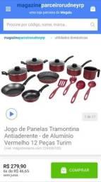 PROMOÇÃO MAGALU JOGO DE PANELAS TRAMONTINA COM 12 PEÇAS ,