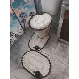 Jogo de Banheiro Crochê com Flor Café