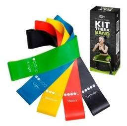 5 Faixas Elásticas para Treino Funcional e Fisioterapia - Kit Mini Thera Band