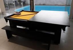 Mesa Residencial de Sinuca Charme Cor Preto Tecido Amarelo Borda Preta Mod NDS3848