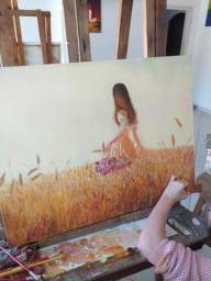 """Pintura á oleo """"Menina nos campos de trigo"""""""