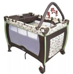 Berço Plus Portátil com Trocador Baby Style Mobile Bolinhas - Marrom