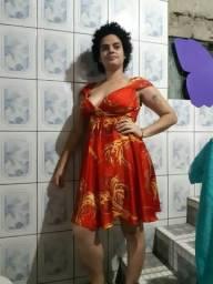 Vestido de seda Vermelho e Dourado