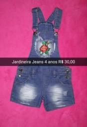 Jardineira Jeans 4 anos