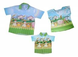 Kit camisa fazendinha Pai Mãe e Filho