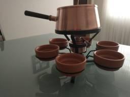 Fondue - conjunto fondue cobreado antigo marca wolff