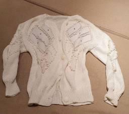 Casaco off white com detalhes em couro