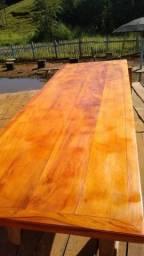 Jogo de mesa rústica feitos de madeira de peroba rosa demolição direto da fábrica