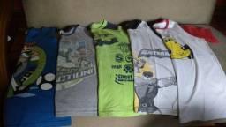 Lote de Camisetas Regatas e Meia Manga Infantis de Malha - 8Anos