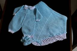 Kit Macacão, sapatinho e mantinha para recém nascidos