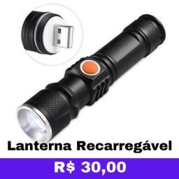 R$ 30 Lanterna Recarregável Por USB Com Foco Regulável